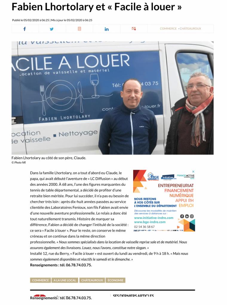 la nouvelle republique Fabien Lhortolary et « Facile à louer »